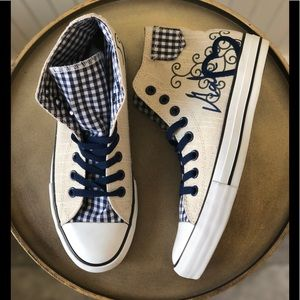 KRUGER MADL BLUE GINGHAM HIGH TOP SNEAKERS. 9. NEW